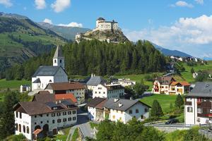 Europe Switzerland Graubunden Engadine Scuol Tarasp Castle Schloss