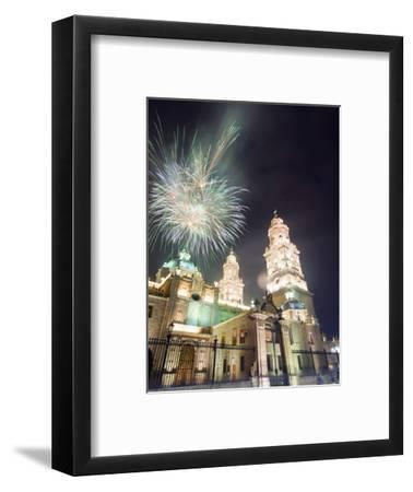 Firework Display Over the Cathedral, Morelia, Michoacan State, Mexico, North America