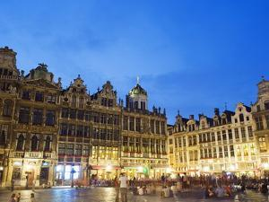 Guildhalls in the Grand Place Illuminated at Night, UNESCO World Heritage Site, Brussels, Belgium by Christian Kober