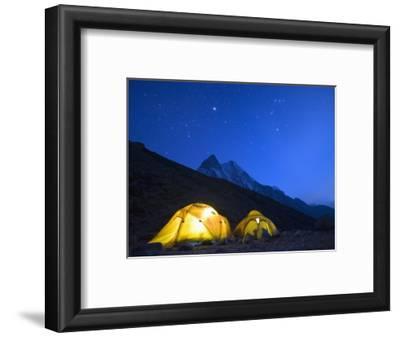 Illuminated Tents at Island Peak Base Camp, Sagarmatha National Park, Himalayas