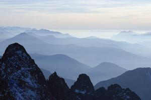 Mountain Silhouette, Aiguilles Rouges, Chamonix, Haute-Savoie, French Alps, France, Europe by Christian Kober