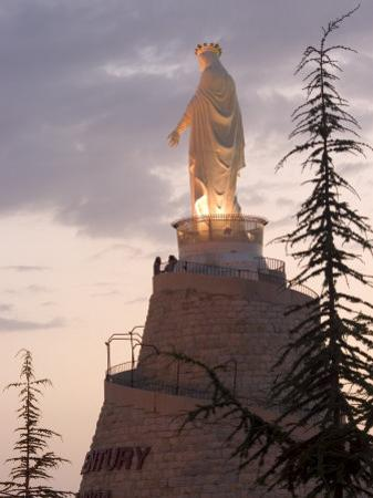 Mountain Top Basilica of Our Lady of Lebanon in the Evening, Jounieh, Near Beirut, Lebanon by Christian Kober