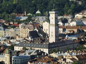 Old Town Including Town Hall, Seen from Castle Hill, Unesco World Heritage Site, Lviv, Ukraine by Christian Kober
