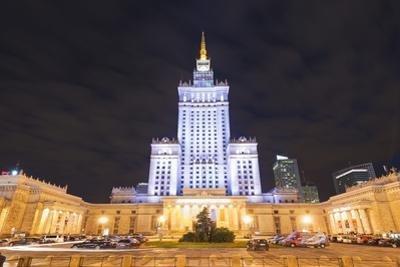 Palace of Culture and Science at Night, Warsaw, Poland, Europe by Christian Kober
