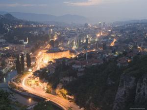 Panoramic Night View of the City, Sarajevo, Bosnia, Bosnia-Herzegovina, Europe by Christian Kober