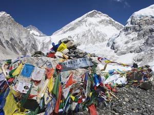 Prayer Flags at the Everest Base Camp Sign, Sagarmatha National Park, Himalayas by Christian Kober