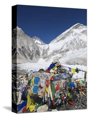 Prayer Flags at the Everest Base Camp Sign, Sagarmatha National Park, Himalayas