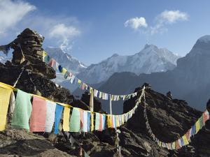 Prayer Flags, View From Gokyo Ri, 5483M, Gokyo, Sagarmatha National Park, Himalayas by Christian Kober