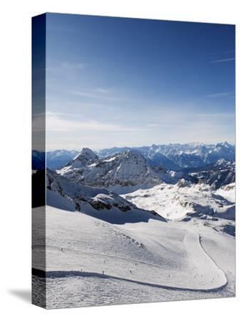 Skiers, Mountain Scenery in Cervinia Ski Resort, Cervinia, Valle D'Aosta, Italian Alps, Italy