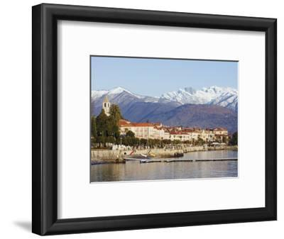 Snow Capped Mountains Above Stresa Waterfront, Lake Maggiore, Italian Lakes, Piedmont