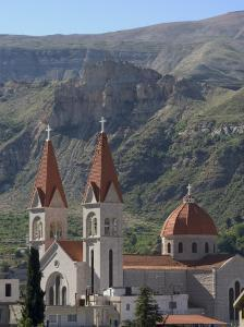 St. Saba Church, Red Tile Roofed Town, Bcharre, Qadisha Valley, North Lebanon, Middle East by Christian Kober