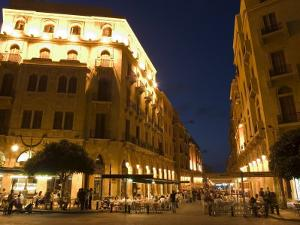 Street Side Cafe Area, Place d'Etoile (Nejmeh Square) at Night, Downtown, Beirut, Lebanon by Christian Kober
