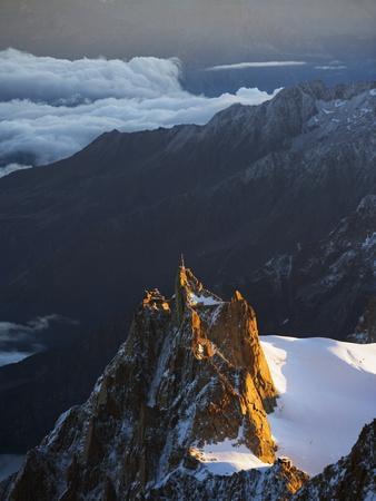 Sunrise on Aiguille Du Midi Cable Car Station, Mont Blanc Range, Chamonix, French Alps, France