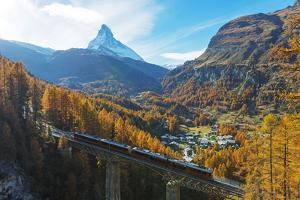 The Matterhorn, 4478m, Findelbach bridge and the Glacier Express Gornergrat, Zermatt, Valais, Swiss by Christian Kober