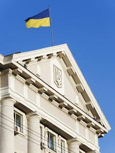 Ukrainian Flag Atop Classical Architecture, Kiev, Ukraine, Europe by Christian Kober