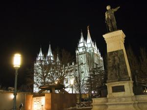 Utah, Salt Lake City, Mormon Theatre Monument in Honour of Brigham Young and the Pioneers, USA by Christian Kober