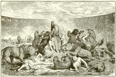 Christian Martyrs in the Arena-English School-Giclee Print