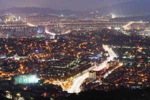 Night View of City, Seoul, South Korea, Asia by Christian