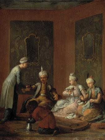 A Harem Scene with Turks Drinking Coffee