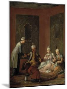 A Harem Scene with Turks Drinking Coffee by Christian W.e. Dietrich