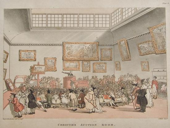 Christie's Auction Room, 1808- Rowlandson & Pugin-Giclee Print