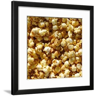 Caramel Popcorn and Peanuts Square Background