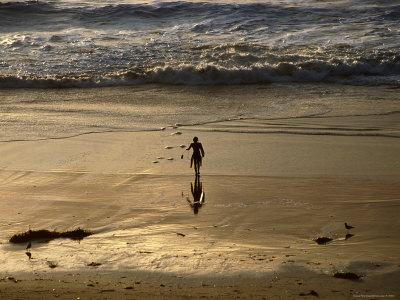 Overhead of Surfer on Redondo Beach