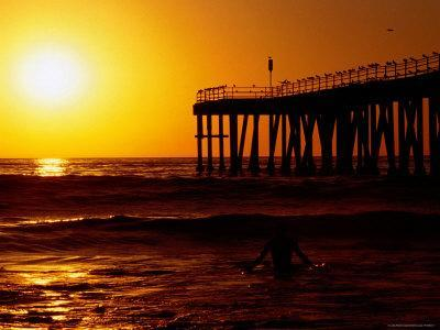 Sunset at Beach, Hermosa Beach, with Jetty in Background