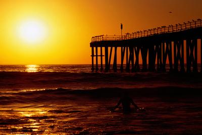 Sunset at Beach, Hermosa Beach, with Jetty in Background.