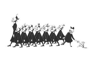Line of school girls in black wearing gas masks. One stops to touch a flow - New Yorker Cartoon