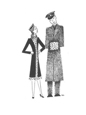 Soldier's hand muff matches his girlfriend's outfit. - New Yorker Cartoon