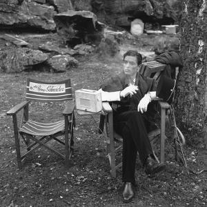 CHRISTINE, 1958 On the set, Alain Delon (b/w photo)