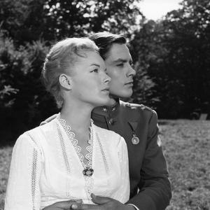 Christine by Pierre Gaspard Huit with Romy Schneider and Alain Delon, 1958 (b/w photo)