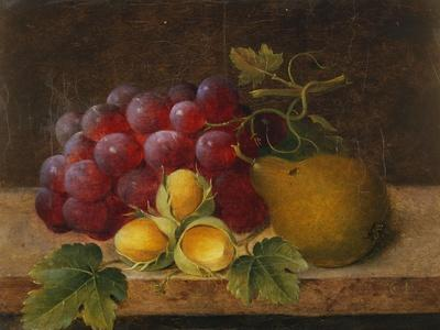 Grapes, Cobnuts and a Pear on a Ledge