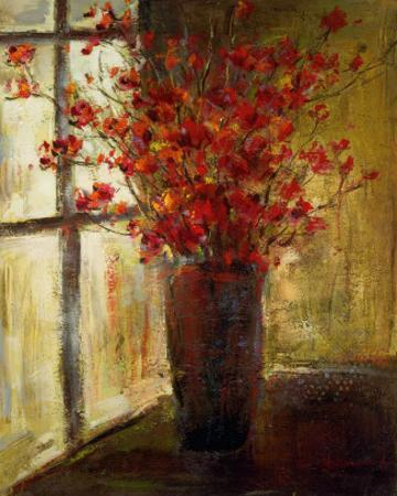 Vase of Red Flowers by Christine Stewart