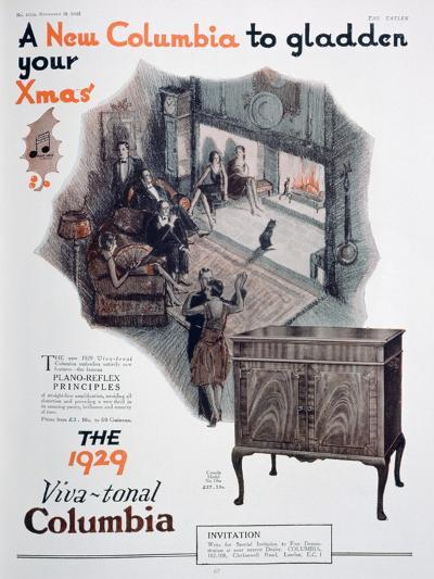Christmas Advert for Columbia Gramophones, 1928--Giclee Print
