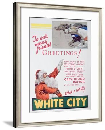 Christmas Advert for the White City Greyhound Track, London, 1932--Framed Giclee Print