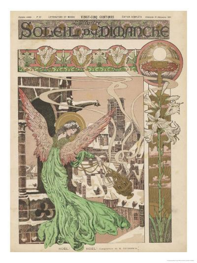 Christmas Angel Announces the Arrival of Christmas- Duchemin-Giclee Print
