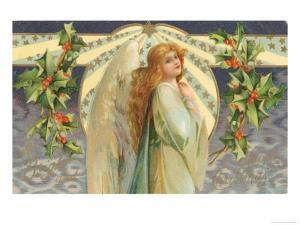 Christmas Angel with Holly