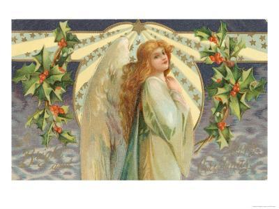 Christmas Angel with Holly--Giclee Print