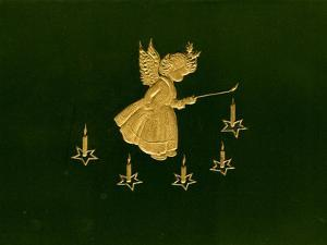 Christmas Angels Card, Gold Metalic Angel Lighting Candles