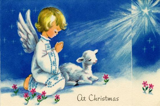 Christmas Angels.Christmas Angels Kneeling Praying Under The Christmas Star Art Print By Art Com