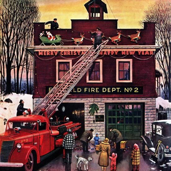 """""""Christmas at the Fire Station"""", December 16, 1950-Stevan Dohanos-Giclee Print"""