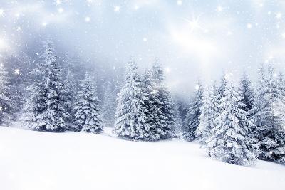 Christmas Background with Snowy Fir Trees-melis-Art Print