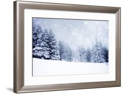 Christmas Background with Snowy Fir Trees-melis-Framed Photographic Print