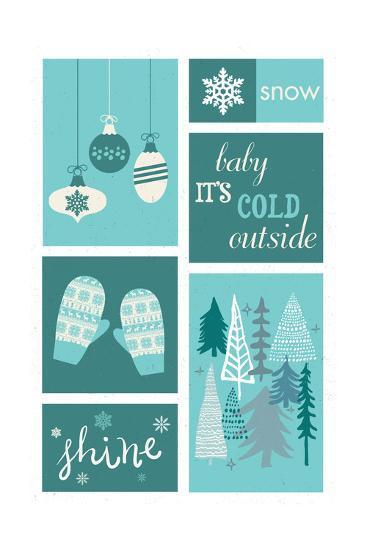 Christmas - Blue Snow - Checkerboard-Lantern Press-Art Print