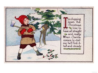 Christmas - Boy Chopping Down Christmas Tree-Lantern Press-Art Print