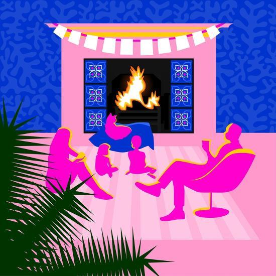Christmas by the fireplace-Claire Huntley-Giclee Print
