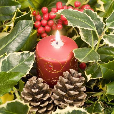 Christmas Candle and Holly Berries--Photographic Print