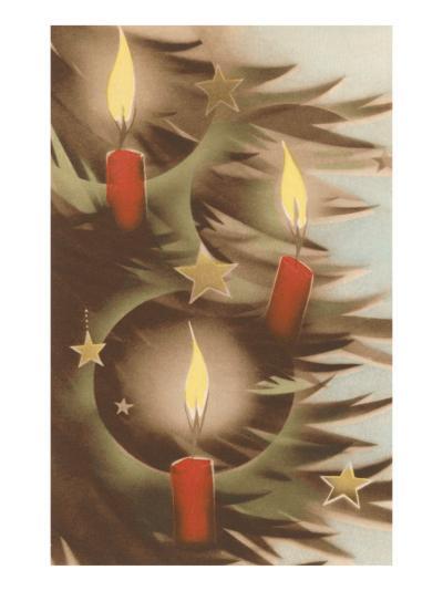 Christmas Candles on Tree--Art Print